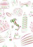 Vistas y símbolos del italiano inconsútiles. fotos de archivo libres de regalías