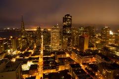 Viste aeree di San Francisco Financial District da Nob Hill, notte Immagine Stock Libera da Diritti