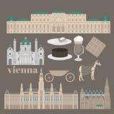Viste austriache della città a Vienna Elementi Stephansdom, Karlskirche, pala di architettura di viaggio e di viaggio del punto d Immagini Stock Libere da Diritti