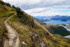 Viste da Rocky Mountain Summit verso il lago Wanaka, Nuova Zelanda Immagine Stock Libera da Diritti