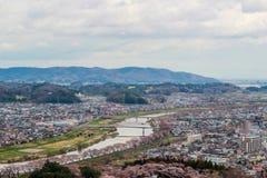 Viste dei fiori di ciliegia a Shiroishi RiversideHitome Senbonzakura o mille ciliegi a vista ed alla catena montuosa di Zao vedut Fotografie Stock