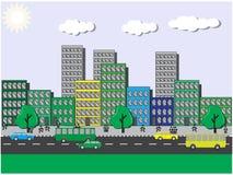 Viste del ‹del †del ‹del †della città un giorno soleggiato illustrazione vettoriale
