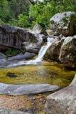 Viste del fiume e della cascata della giungla dalla piccola strada rurale del villaggio al EL l'Eden da Puerto Vallarta Messico i Fotografie Stock