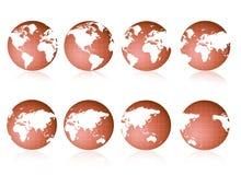 Viste del globo del mondo Immagini Stock