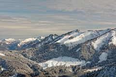 Viste del massiccio nevoso di Schoener MANN da Schwarzenberg fotografie stock libere da diritti