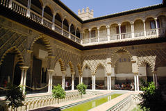 Viste del palazzo di alcazar a Sevilla Fotografia Stock