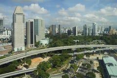 Viste dell'orizzonte di Singapore dalla carrozza della ruota panoramica Fotografie Stock