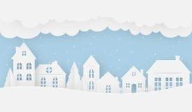 Viste della casa nell'inverno un giorno nevoso illustrazione vettoriale