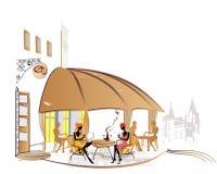 Viste della città con i caffè accoglienti royalty illustrazione gratis
