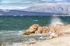 Viste della Croazia Spiaggia sull'isola Hvar Fotografie Stock Libere da Diritti
