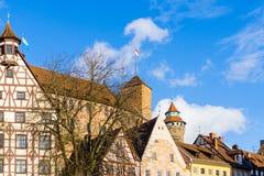 Viste della Germania Europa del castello di Norimberga immagini stock libere da diritti