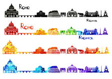 Viste della siluetta di Roma nel b-w ed in acquerello immagine stock libera da diritti