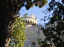 Viste della torre medievale attraverso gli alberi Immagini Stock Libere da Diritti