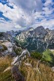 Viste della valle di Krma dal PEC di Debela Fotografia Stock
