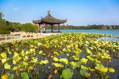 Viste dello stagno di Changshu Shang Lake Park Fotografie Stock Libere da Diritti