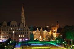 Viste di Bruxelles alla notte Fotografie Stock Libere da Diritti