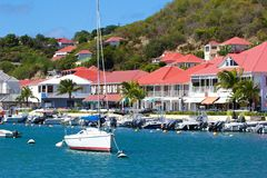 Viste di Gustavia, st Barths, caraibico Fotografia Stock Libera da Diritti