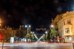 Viste di notte della città Vilnius fotografia stock libera da diritti