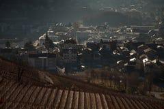 Viste di Sierre e le alpi dal Crans-Montana, Svizzera Fotografia Stock Libera da Diritti