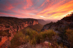 Viste di tramonto dall'allerta Katoomba di Nord Fotografie Stock Libere da Diritti