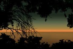 Viste di tramonto del mare Fotografie Stock Libere da Diritti