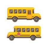 Viste laterali dello scuolabus giallo Immagine Stock Libera da Diritti