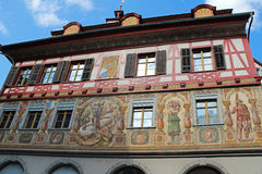 Viste magnifiche delle costruzioni del centro Stein-essere-Reno, Svizzera Fotografie Stock Libere da Diritti