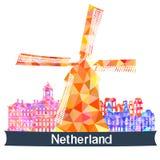 Viste Paesi Bassi, illustrazione di vettore illustrazione di stock