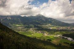 Viste panoramiche dalle rovine del castello di Ehrenberg, Austria Fotografie Stock Libere da Diritti