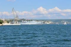 Viste panoramiche della baia di Sebastopoli fotografia stock libera da diritti