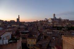Viste panoramiche della città di mattina di Siena Fotografie Stock Libere da Diritti