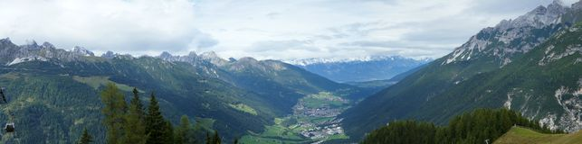 Viste panoramiche dello Stubaital, Tirolo Fotografia Stock Libera da Diritti