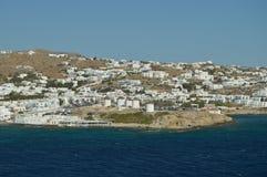 Viste piacevoli dagli alti mari dei mulini di Mykonos Art History Architecture fotografia stock libera da diritti
