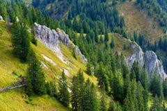 Viste pittoresche dalla montagna di Tegelberg, una parte delle alpi di Ammergau, nead individuato Fussen, Baviera, Germania Fotografia Stock Libera da Diritti