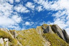 Viste pittoresche dalla montagna di Tegelberg, una parte delle alpi di Ammergau, nead individuato Fussen, Baviera, Germania Fotografie Stock Libere da Diritti