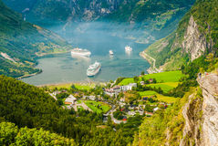Viste sbalorditive del Geirangerfjord La contea di più og Romsdal norway Fotografie Stock Libere da Diritti