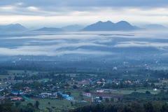 Viste strabilianti di mattina al punto di vista di Yun Lai, Pai, Mae Hong Son, Tailandia del Nord Fotografia Stock Libera da Diritti