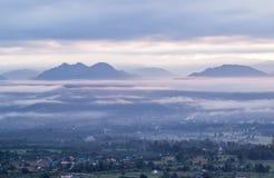 Viste strabilianti di mattina al punto di vista di Yun Lai, Pai, Mae Hong Son, Tailandia del Nord Immagini Stock
