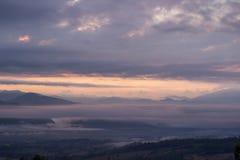 Viste strabilianti di mattina al punto di vista di Yun Lai, Pai, Mae Hong Son, Tailandia del Nord Fotografia Stock