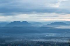 Viste strabilianti di mattina al punto di vista di Yun Lai, Pai, Mae Hong Son, Tailandia del Nord Fotografie Stock