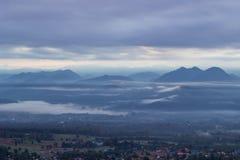 Viste strabilianti di mattina al punto di vista di Yun Lai, Pai, Mae Hong Son, Tailandia del Nord Immagine Stock