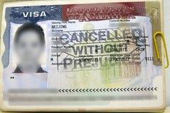 VISTO cancelado dos E.U. Imagem de Stock Royalty Free