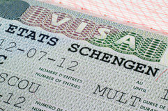 Visto de Schengen no passaporte Foto de Stock Royalty Free
