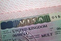 Visto del Regno Unito in passaporto Fotografia Stock