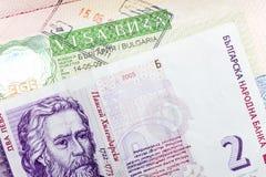 Visto della Bulgaria alla pagina del passaporto e del lev bulgaro Immagini Stock