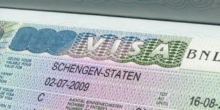 Visto di Schengen Fotografia Stock