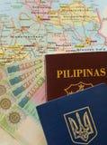 VISTO di Schengen con il passaporto Ucraina/di philippine Immagini Stock
