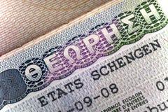 Visto di Schengen della Grecia alla pagina del passaporto, fotografia stock