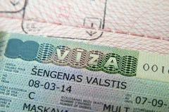 Visto di Schengen in passaporto Fotografie Stock Libere da Diritti