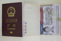 VISTO dos EUA e passaporte de China Imagem de Stock Royalty Free